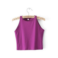 Sexy Bare Midriff Tanks Crop Top y Melville Short Tank Tops Camis Camisole Tee tee ropa mujer camisetas femininas 6 colors