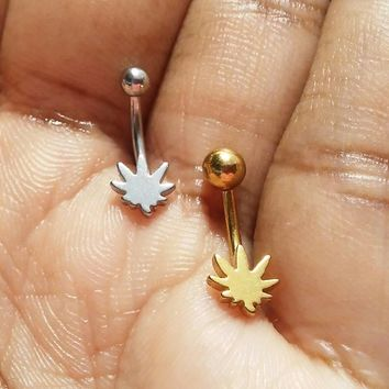 Stainless steel pot leaf, Daith, Rook, Eyebrow ring.......choose silver or gold