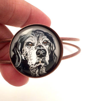 Personalized Dog Bracelet- Custom Dog Bracelet- Labrador Jewelry- Custom Pet Portrait- Dog Memorial Bracelet- Cuff Bracelet- Pet Loss Gifts
