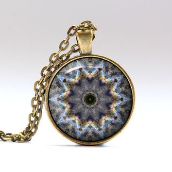 Buddhist necklace Hippie jewelry Colorful pendant OWA394