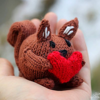 Love Squirrel, handknit from eco friendly cotton yarn, spring gift and decoration, easter, gift for kids and adults