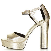 LENA Metallic Platform Sandals - Gold
