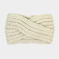 Women's Ivory Soft Knit Twist Ear Warmer Headband Head Wrap  Winter Accessories Headbands