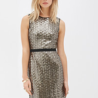 LOVE 21 Sequined Shift Dress Bronze/Black