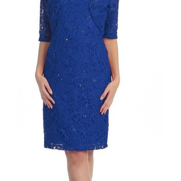 Modest Royal Blue Short Lace Dress With Matching Bolero Jacket