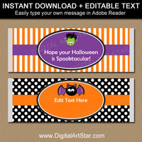 Halloween Party Favors - Kids Halloween Favors - Printable Halloween Candy Bar Wrappers - Kids Halloween Candy Labels - Halloween Party HF