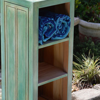 Reclaimed Wood Solid Cedar Bookcase, Storage, Towel Cabinet,  Custom Distressed Finish Reclaimed Wood - Great Storage & Perfect Size!