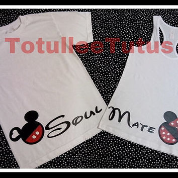 2 Sided Couples Shirts Soul Mate Disney Inspired Tank Tops Perfect For Disneyland Set of 2 Hand Points Couples Shir