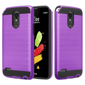LG Stylo 3 Case, Slim [Shock/Impact Resistant] Hybrid Dual Layer Armor Defender Case Cover for LG Stylus 3 - Brush Purple
