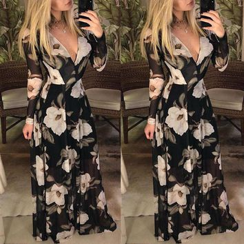 Women's Summer Boho Floral Long Sleeve Long Maxi Dress Party Beach Sundress USA