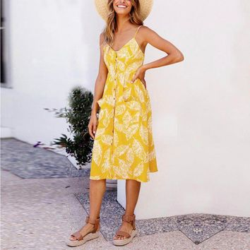 Women Sexy V Neck Backless Floral Boho Striped Button Sunflower Midi Dresses