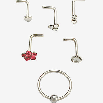 Steel Pink Flower Nose Bone Hoop 6 Pack