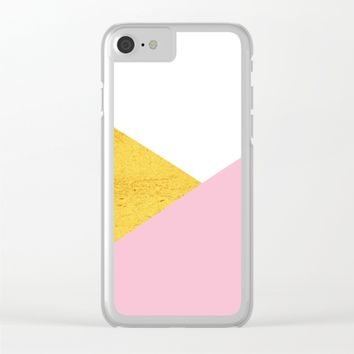 Gold & Pink Geometry Clear iPhone Case by ARTbyJWP