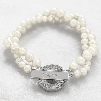 Ivory Personalized Pearl Bracelet with Rhinestone Toggle