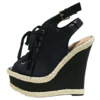 Qupid Women's Kunis26 Black Canvas Lace Up Peep Toe Platform Wedge 8.0 M US