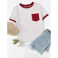 Kaydence Striped Ringer Tee - Red