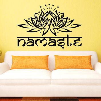 Art design Indian Namaste Words religion Wall Decal Vinyl Lotus Yoga sticker Buddha Ganesha home decor bedroom Flower Mural