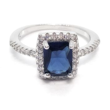 Bella Notte Radiant Emerald Cut Sapphire Zirconia Halo Ring