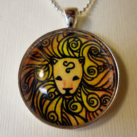 Zodiac Necklace Silver Leo Pendant Wearable Art by cellsdividing