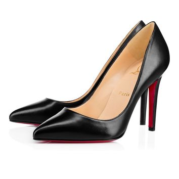 Best Online Sale Christian Louboutin Cl Pigalle Black Leather 100mm Stiletto Heel