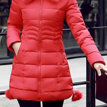 Red Pockets Fuzzy Hooded Long Sleeve Going out Coat