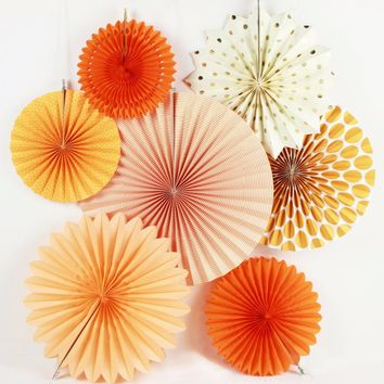 New 7pcs Orange Set Paper Crafts Home Hanging Decoration Party Birthday Wedding Baby Shower Sunshine Bright Color Paper Fan