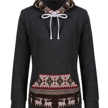 Gray Long Sleeve Fawn Pattern Drawstring Pullover Hoodie