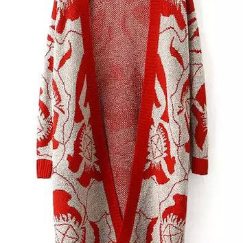 Abstract Print Ribbed Long Sleeve Red Coat