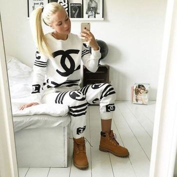 Chanel Striped Long Sleeve Zip Top Fashion Sweater Pullover F