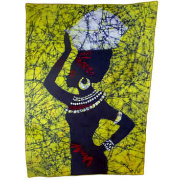 Batik Wall Hanging - Beautiful African Woman - Wax Print - Handmade in Ghana, West Africa