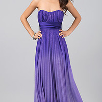 Floor Length Strapless Pleated Dress