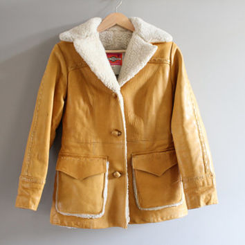 Unisex mustard yellow sherpa lining southwestern style genuine leather jacket size m - l