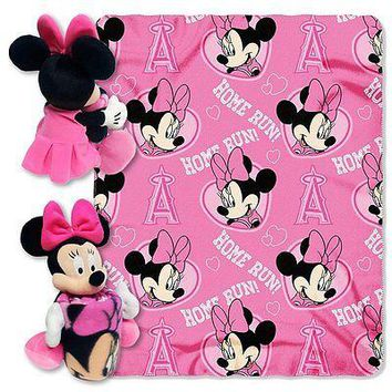 Minnie Mouse Cheerleader Los Angeles Angels MLB Throw and Hugger Pillow Set