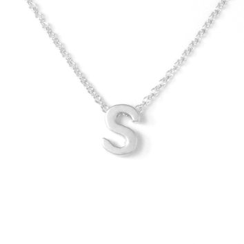 Petite Silver Initial Charm Necklace