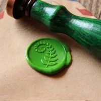 Fern leaf Wax Seal Stamp/ green leaf Sealing Wax Seal/wedding Wax Stamp