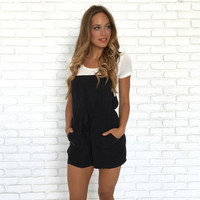 Fig & Black Silk Romper & Short Overalls