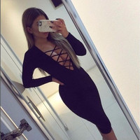 New Women Fashion Long Sleeve Bandage Lace Up Cocktail Evening Casual Midi Dress [9221267844]