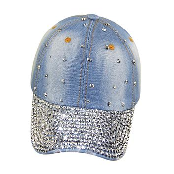 SYB-Blue Adjustable Rhinestoned Denim Jeans Baseball Cap Hiphop Cap For Women