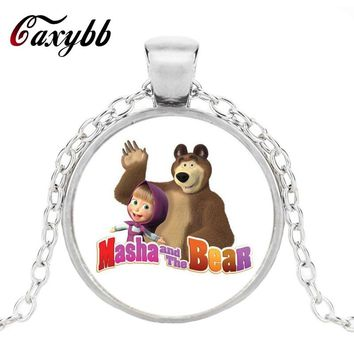 Cute Cartoon Masha And Crystal Bear Silver Pendant Necklaces For Women And Men's Round Crystal Jewelry Dome necklace