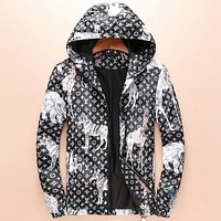LV Louis Vuitton 2018 autumn and winter new tide brand fashion hooded pullover jacket F-A00FS-GJ black