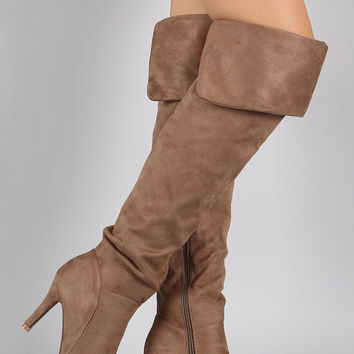Pointy Toe Fold Over Cuff High Heel Boot
