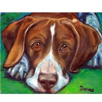 Lying German Shorthaired Pointer Dog Art 8x10 Print by Dottie Dracos