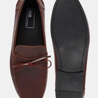 ASOS Loafers in Burgundy Leather With Tie Front