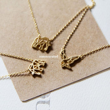 Geometric Shaped Elephant Charm Necklace,
