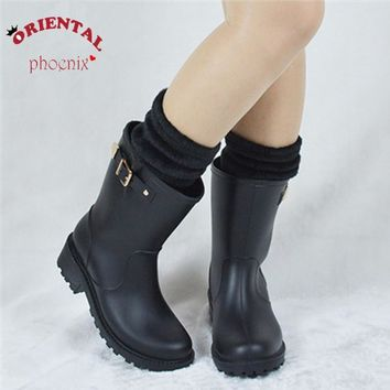 add sock women rain boots buckle winter autumn water shoes motorcycle rainboots europe  number 1