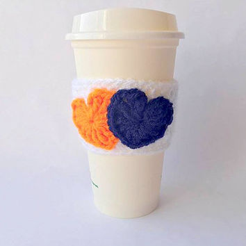Denver Broncos Crochet Coffee Cozy, Denver Broncos Coffee Sleeve, Crochet Coffee Cozy, Coffee Cozy, Coffee Sleeve, Valentine Coffee Cozy