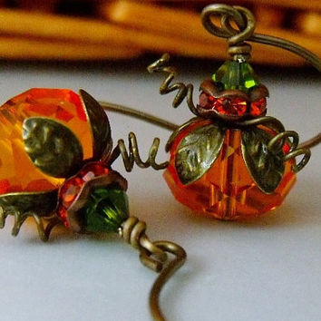 Pumpkin Earrings, Fall Jewelry, Halloween Earrings, Orange Earrings