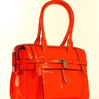 Designer Inspired Nadia Neon Belted Satchel - Colors Available