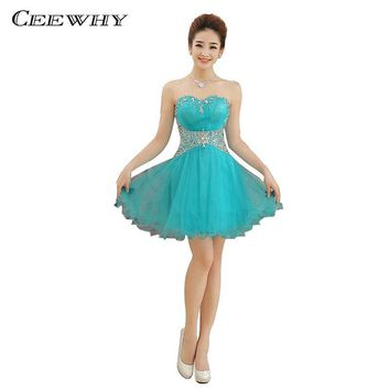 Blue Organza Beading Sweetheart Strapless Ball Gown Women Evening Party Short Dresses Above Knee robe de Cocktail Dresses