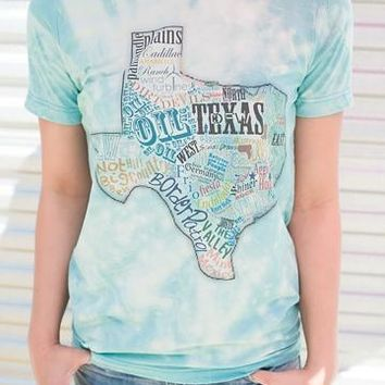 "Gina ""Texas Typography"" Neon Blue Bleached Tee"